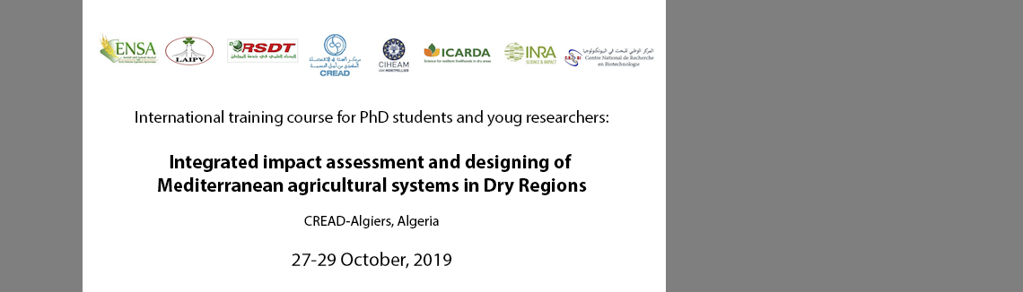 "Open registration: ""Integrated impact assessment and designing of Mediterranean agricultural systems in Dry Regions""."